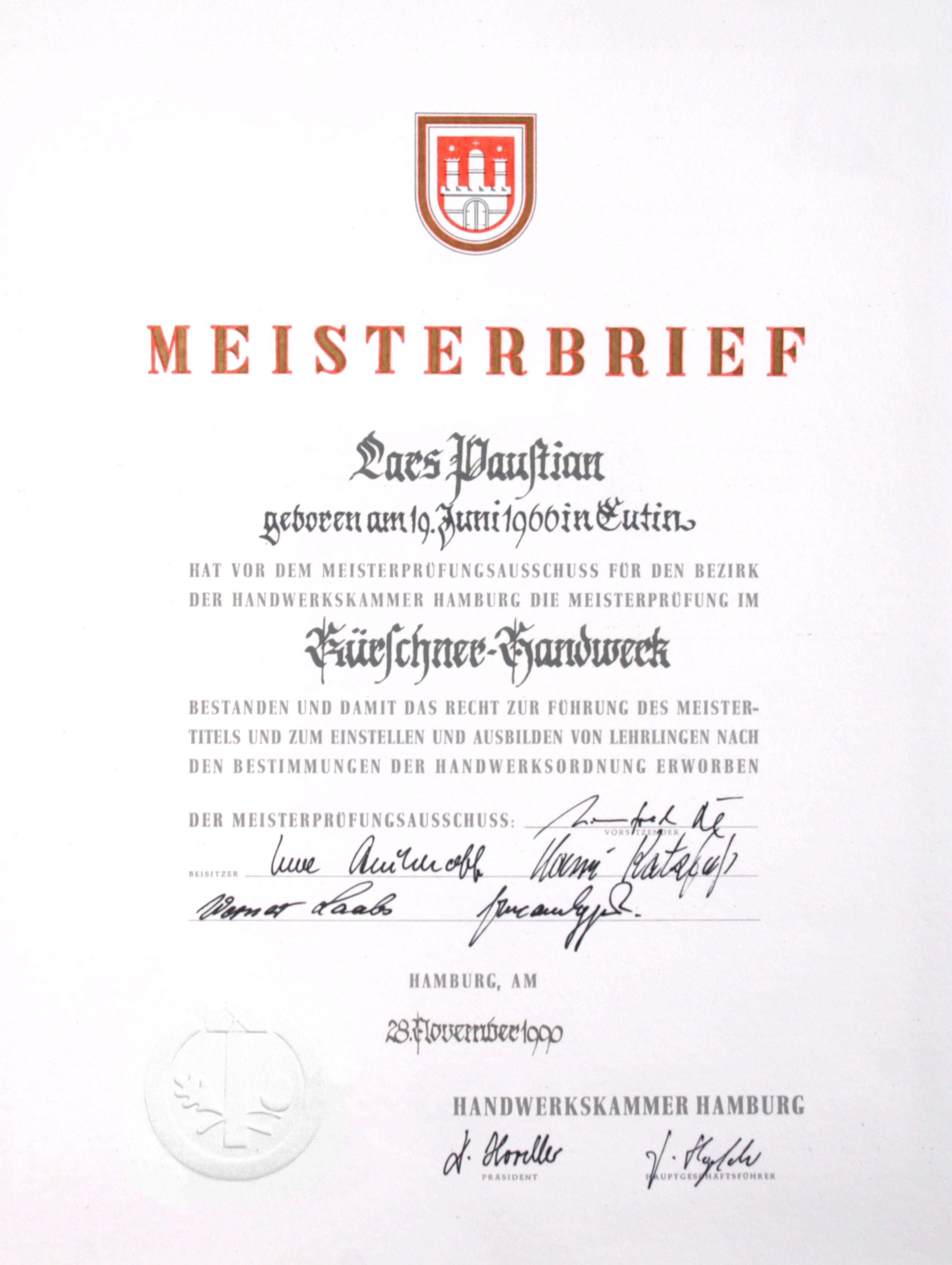 Meisterbrief Lars Paustian
