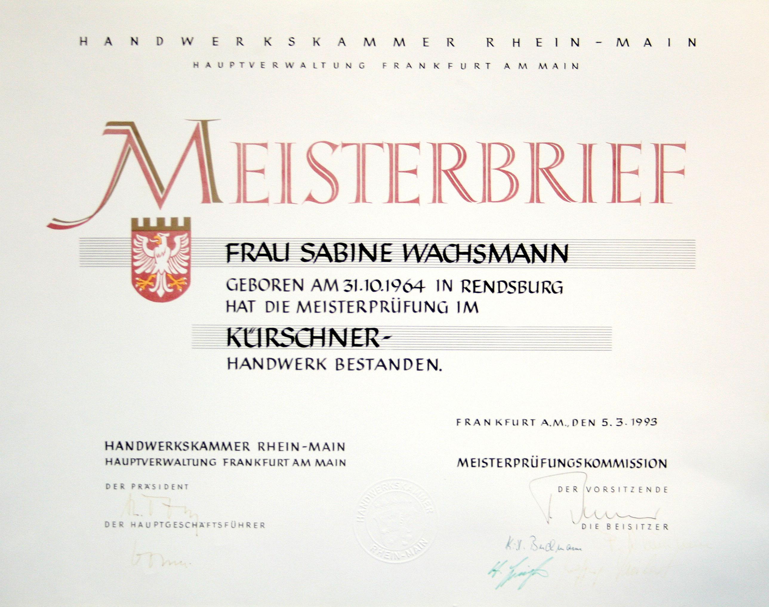 Meisterbrief Sabine