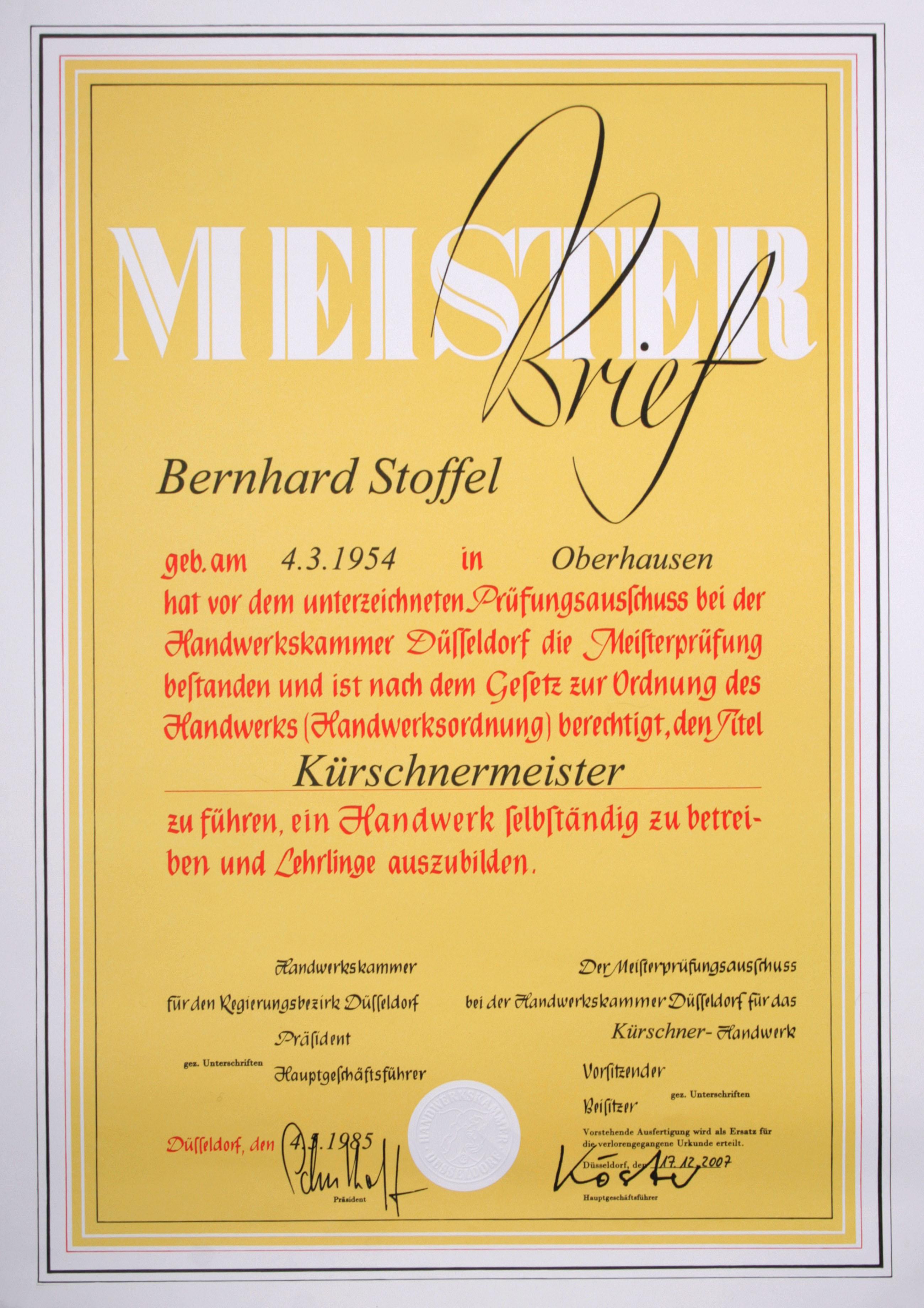 Bernhard Stoffel Meisterbrief
